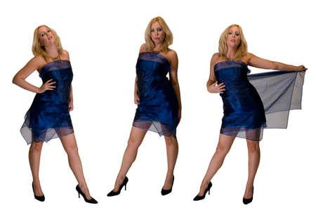 Een montage van 3 poses van een blonde vrouw