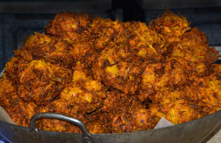 Onion Bhajis in a wok