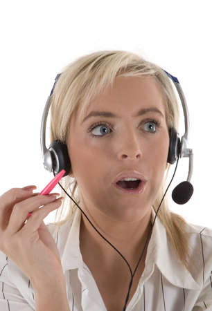A call centre operator looking surprised