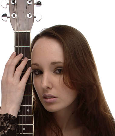 Portrait of a young woman with an acoustic guitar, face, portrait,