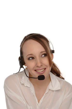Young female customer services operator taking a call