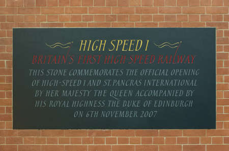 High Speed 1 Plaque, St Pancras, London