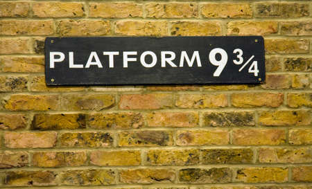 close up of the sign at Platform 9 3/4 at Kings Cross Station