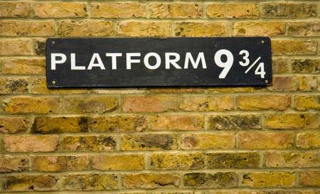 close up of the sign at Platform 9 3/4 at Kings Cross Station