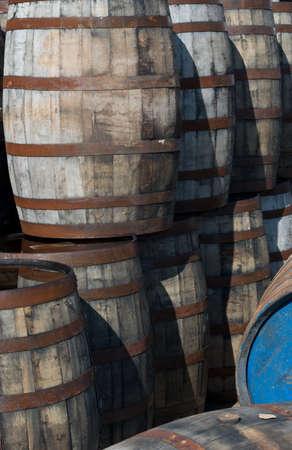 Old Whisky Barrels 版權商用圖片