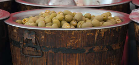 Stuffed Green Olives for sale 版權商用圖片