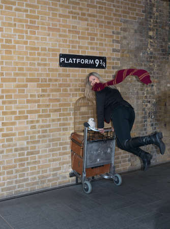 Woman Entering Platform 9 3/4, Kings Cross Station