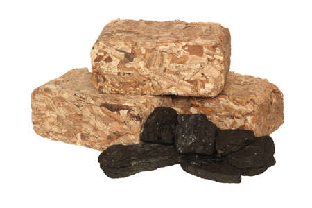 Wood and coal mix Stock Photo