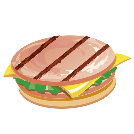 ham sandwich: Vector image of a sandwich with cheese and ham