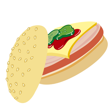 ham and cheese: Vector image of a sandwich with ham, cheese and catchup Illustration