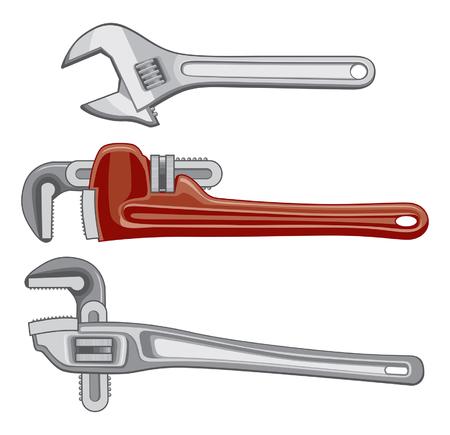 loodgieterswerk: Illustratie van Pipe slagmoersleutels of verstelbare sleutels. Stock Illustratie