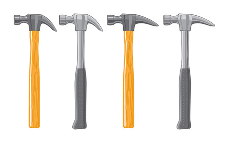 framing: Illustration of four claw hammers. The first two are standard curved claw hammers, one has a wooden handle and the other has a metal handle. The second two are framing hammers, one has a wooden handle and the other has a metal handle.