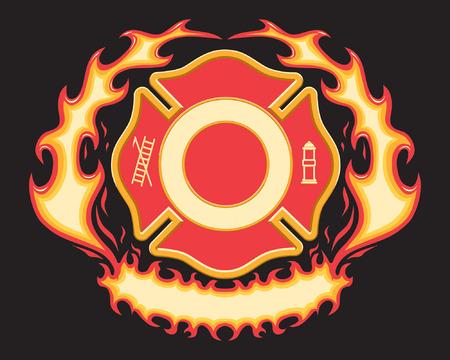 Brandweer Kruis symbool met Flaming Banner is een zes steunkleur vectorillustratie op zwarte achtergrond met spaties opengelaten voor uw informatie. Ontwerpelementen zijn gelaagde voor gemakkelijk bewerken en scheiden.