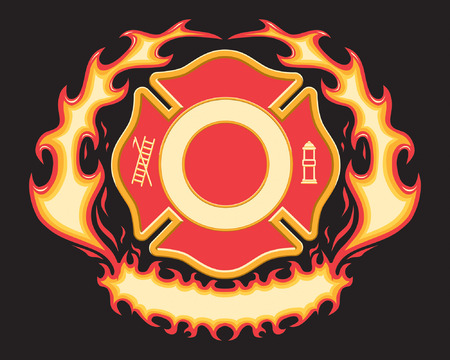 fiery: Firefighter Cross Symbol with Flaming Banner is a six spot color vector illustration on black background with spaces left open for your information. Design elements are layered for easy editing and separating.