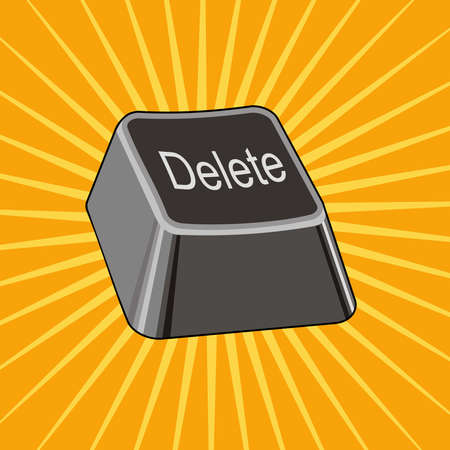 Delete Key is a vector illustration of an isolated keyboard delete key isolated on a sunburst background.
