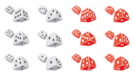 Dice is an illustration of both white and red dice.  Each individual number is emphasized on separate dice.
