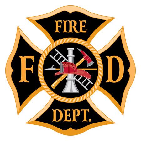 Brandweer of Firefighter†™ s Maltezer Kruis symbool is zes kleur kunst die gemakkelijk kan worden bewerkt of gescheiden voor afdrukken of het scherm afdrukken. Elk belangrijk element is op een afzonderlijke laag voor uw gemak. Stock Illustratie