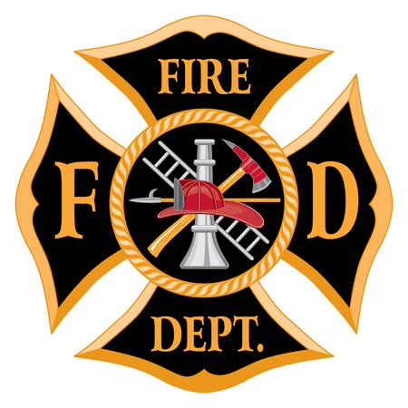 fire helmet: Fire Department or Firefighter's  Maltese Cross Symbol is six color art that can be easily edited or separated for print or screen print. Each major element is on a separate layer for your convenience.