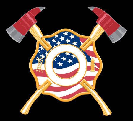 Brandweer Kruis met assen heeft een ingesloten vlag en gekruiste assen op een zwarte achtergrond achter het.