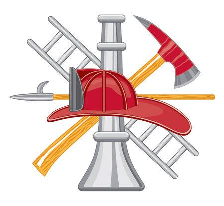 Des pompiers ou du pompier outil Logo est cinq art de couleur peut être facilement édité ou séparé pour imprimer ou impression écran. Chaque outil est sur un calque distinct pour votre commodité. Logo