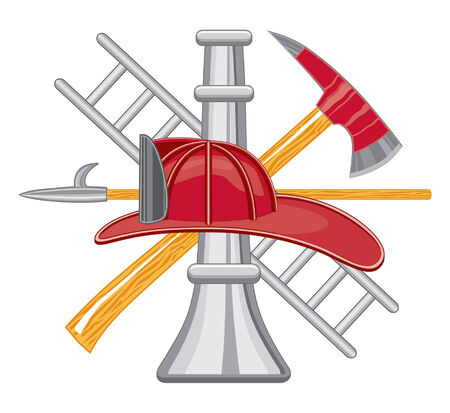 fireman helmet:  Firefighter's or Fireman's Tool Logo is five color art can be easily edited or separated for print or screen print. Each tool is on a separate layer for your convenience. Illustration