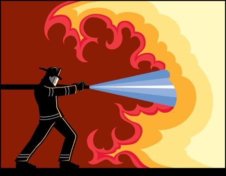 Fireman Fighting Fire is an illustration of a Fire Fighter hosing down a fire.