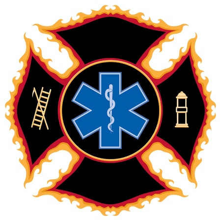Flaming Fire and Rescue Maltese Cross Symbol