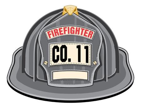 Feuerwehrmann Helm Schwarz ist ein schwarzer Feuerwehrmann Helm oder Feuerwehrmann Hut von vorne. Vektorgrafik
