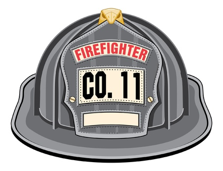 firefighter:  Firefighter Helmet Black is an illustration of a black firefighter helmet or fireman hat from the front. Illustration