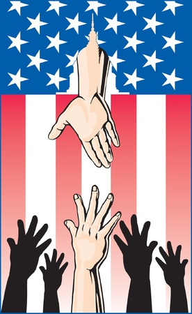 Illustration of several hands reaching up for help while another hand is reaching down through an American Flag to offer help from the United States Government. Ilustração