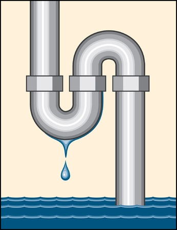 Illustration of a leaking pipe dripping and filling a room with water.