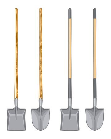 spade: Long Handle Shovel and Spade Illustration. Illustration