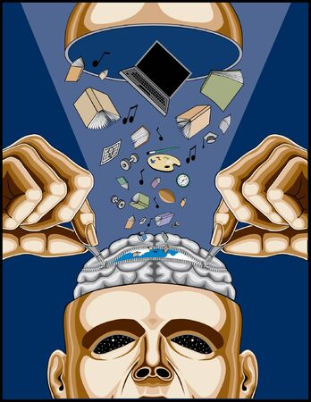 brain illustration: Man Feeding His Zippered Brain is an illustration of a man opening his zippered brain to feed it health  knowledge, strength, information and life. It is on a blue background.