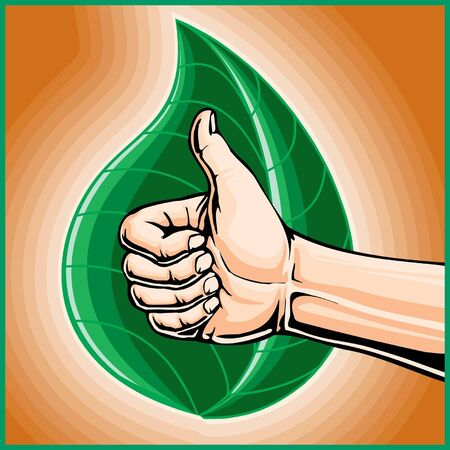 going green:  Man Giving Thumbs Up For Going  Green is an illustration of a man giving thumbs up for going green in front of a green stylized leaf on a vibrant orange background. Illustration
