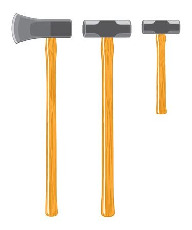 screen print: Maul scissione e mazze � una illustrazione di un maul sputare, Sledge Hammer e mini Sledge Hammer. Tutti sono tre colori e possono essere facilmente modificati e separati per la stampa o la stampa schermo. Vettoriali
