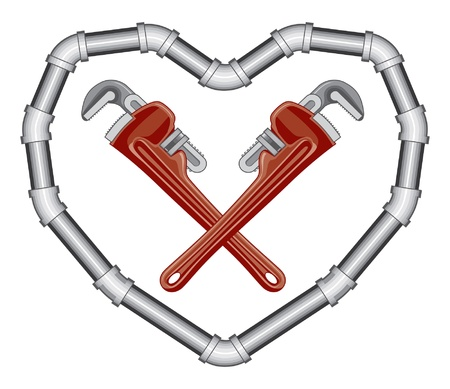 pipe wrench: Plumbers Valentine is an illustration of crossed pipe adjustable wrenches inside a heart made of pipe. Two color art can be easily edited or separated for print or screen print.