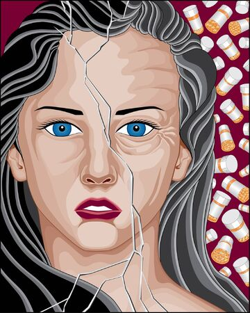 cracked glass: Prescription Drug Addicted Woman is an illustration of a beautiful woman broken and aged from prescription drugs use.