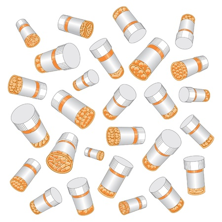 Illustration of prescription drug or pill bottles. Illustration