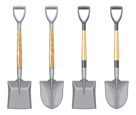 Short handle shovel and spade illustration. Three color art. Wooden handle and fiberglass handle included. Easy to edit and separate. Иллюстрация