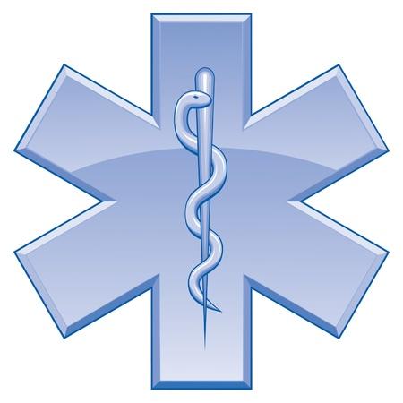 screen print: Star of Life � un esempio della Stella del simbolo della vita utilizzato su veicoli di soccorso. Un 'arte del colore pu� essere facilmente modificati o separati per la stampa o serigrafia.