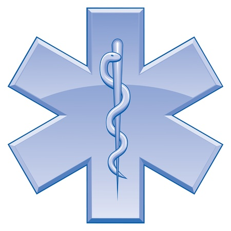 Star of Life is an illustration of the Star of Life symbol used on rescue vehicles. One color art can be easily edited or separated for print or screen print. Stock Vector - 9715912