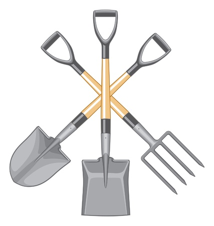 Short handle shovel and spade illustration. Three color art. Wooden handle and fiberglass handle included. Easy to edit and separate. Stok Fotoğraf - 9715910