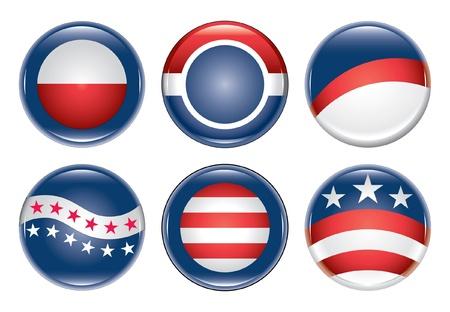 캠페인 단추 공백은 여섯 개의 빈 미국 선거 캠페인 단추를 보여줍니다.