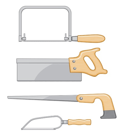 coping: Coping Saw, Backsaw, Keyhole Saw, and Detail Saw illustration. Four color art can be easily edited and separated for print or screen print.