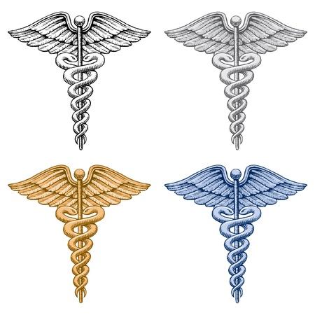 シンボル: カドゥケウス医療シンボルはカドゥケウス医療のシンボルの 4 つのバージョンの図です。黒と白、銀、金および青のバージョンがあります。