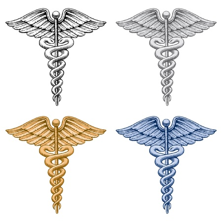 Caduceus Medical Symbol is an illustration of four versions of the Caduceus medical symbol. There is a black and white, silver, gold and blue version. Stock Vector - 9884027