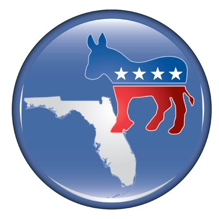 Democrat Florida Button is an illustration of a United States election campaign button promoting the right and will to vote Democrat in Florida.