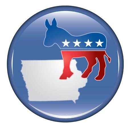 민주당 아이오와 단추 아이오와 민주당 원 투표권 및 권리를 추진하는 미국 선거 캠페인 단추 보여줍니다.