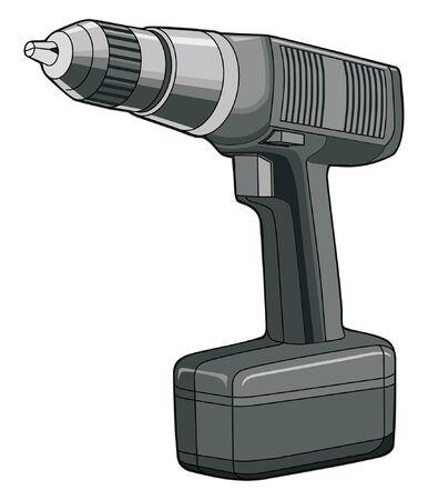 screen print: Drill � una illustrazione vettoriale colore di un trapano avvitatore a batteria che pu� essere facilmente modificato o separato per la stampa e serigrafia.