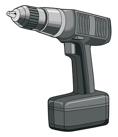 Drill is a one color vector illustration of a cordless drill that is easily edited or separated for print and screen print. Stock Vector - 9933319